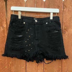 NEVER WORN! John Galt button fly black shorts